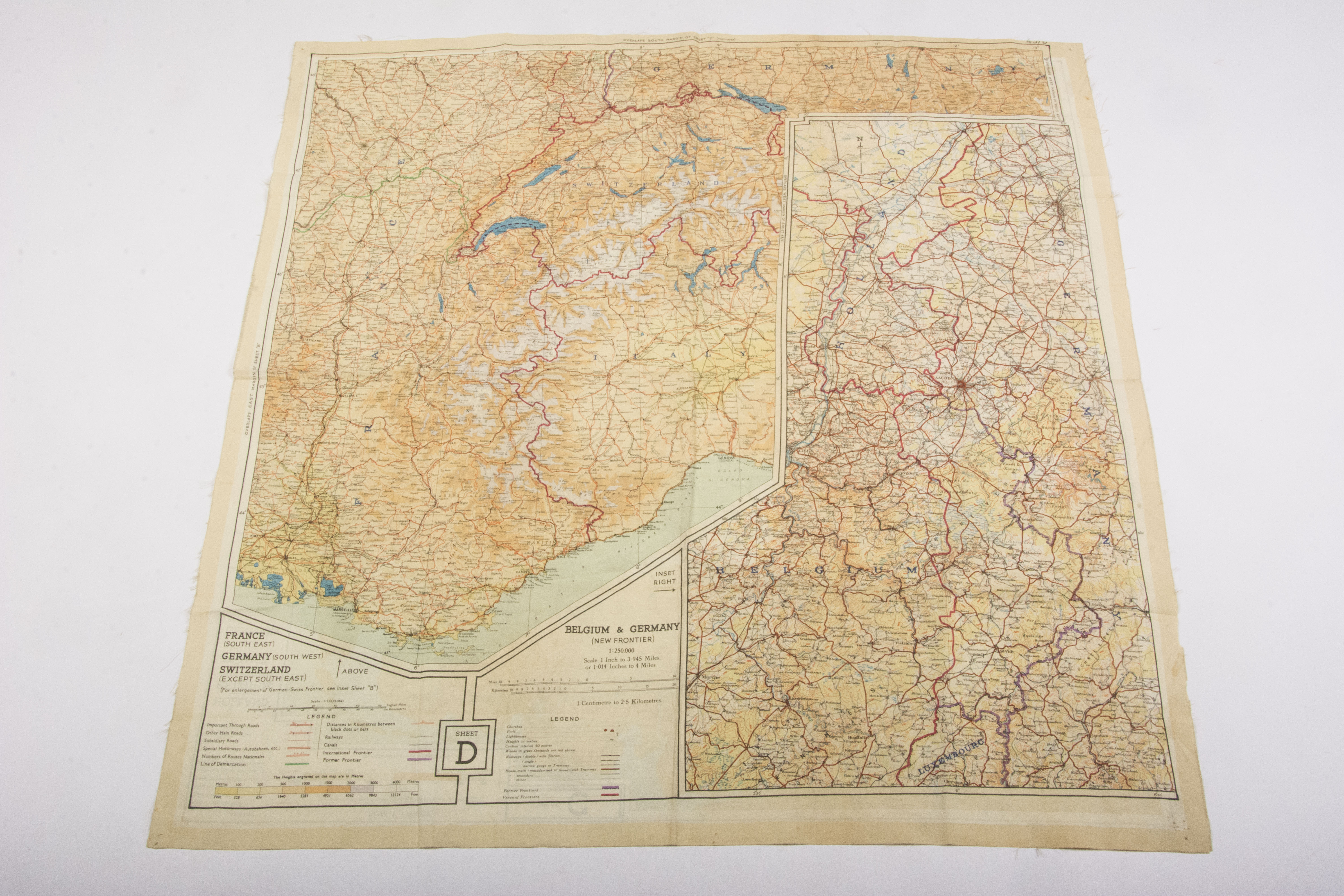 Map Of Holland And Germany.Silk Escape Map Holland Belgium France Germany Fjm44