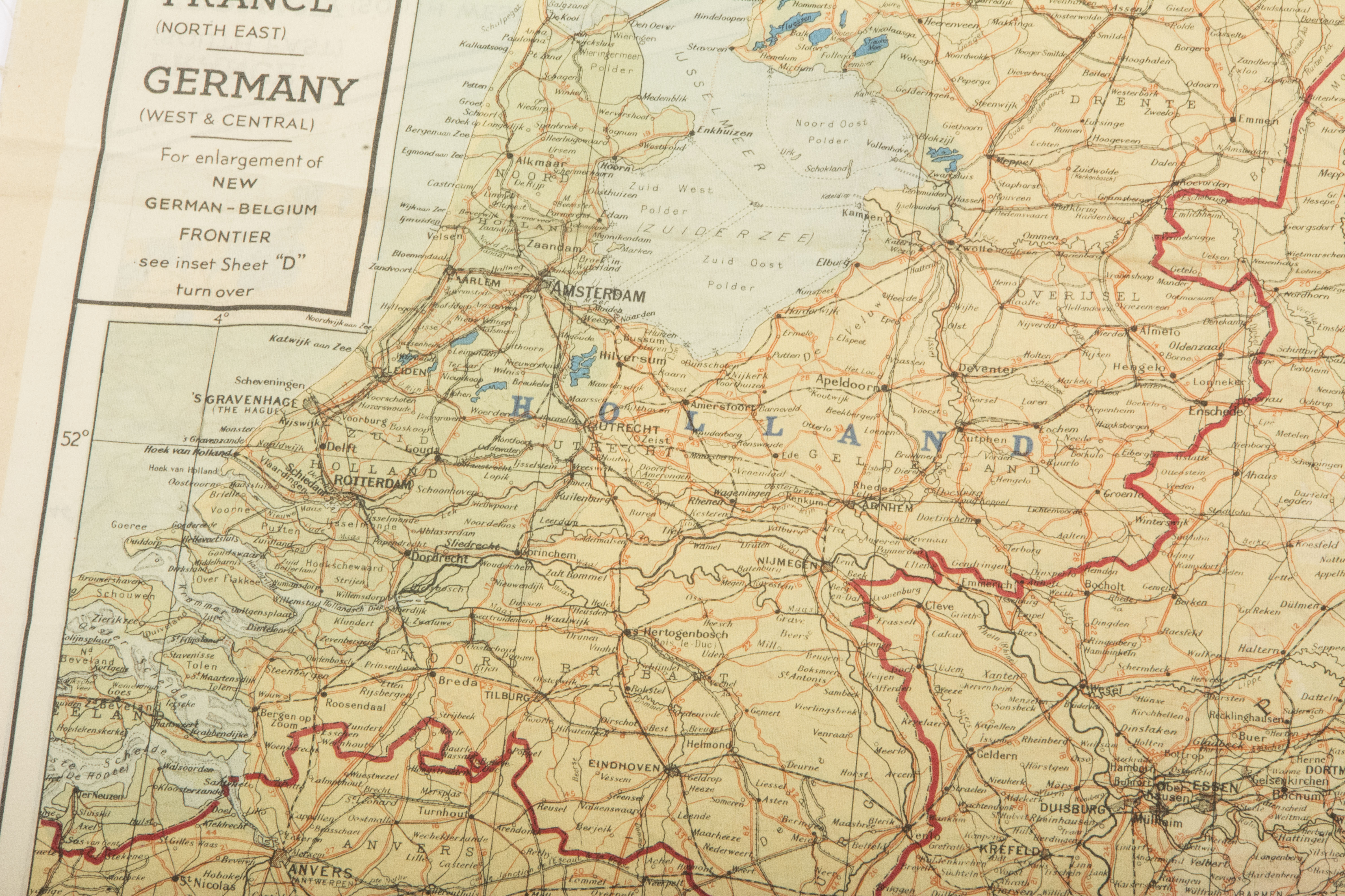 Map Of France And Holland Belgium.Silk Escape Map Holland Belgium France Germany Fjm44