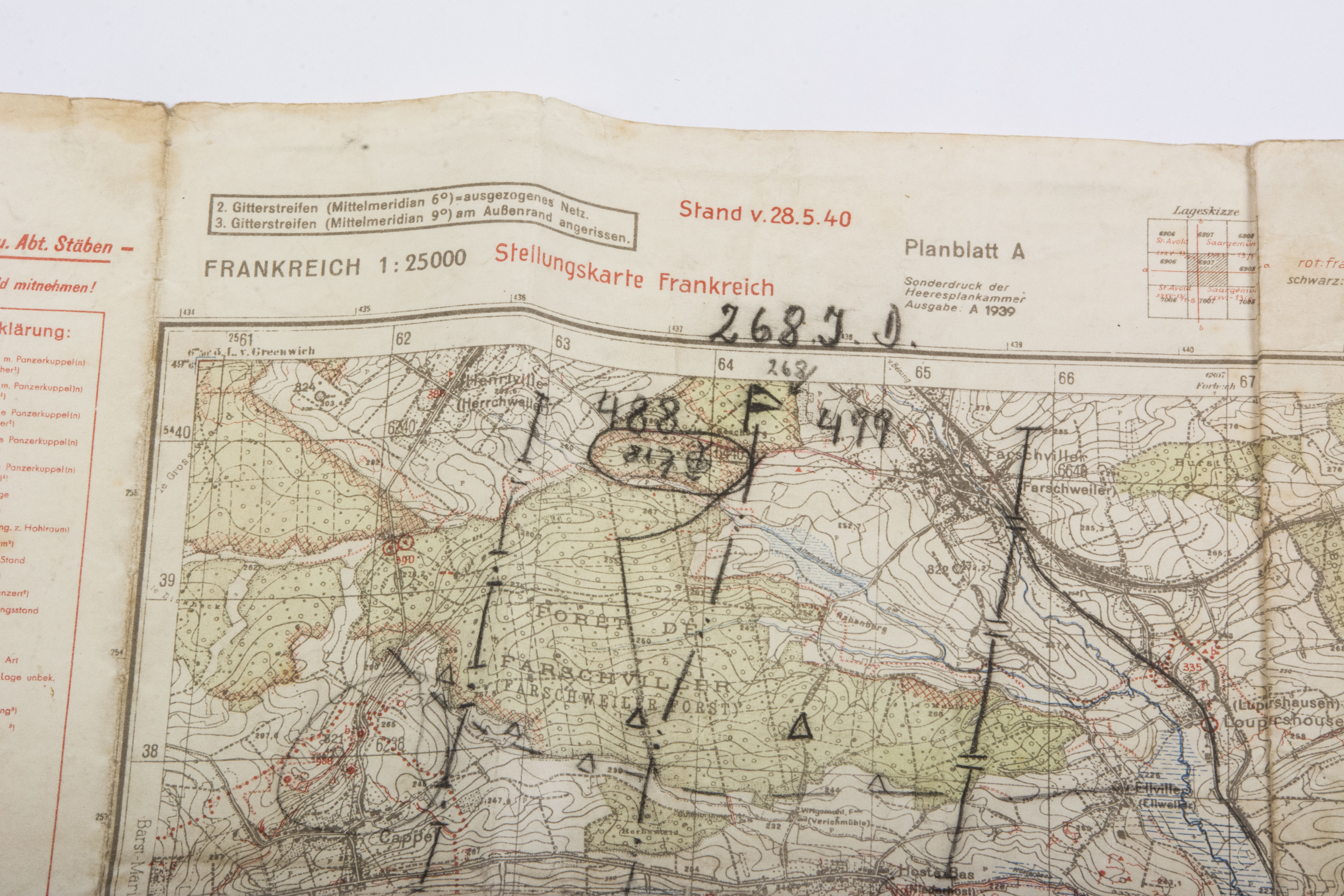 Map Of France 1940.1940 Dated Map Of French Positions And Fortifications Fjm44